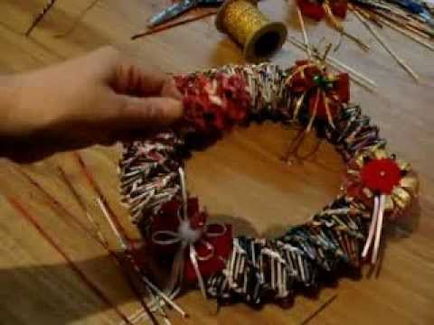 Corona de navidad con hojas de revista / Christmas wreath with leaves magazine. - YouTube