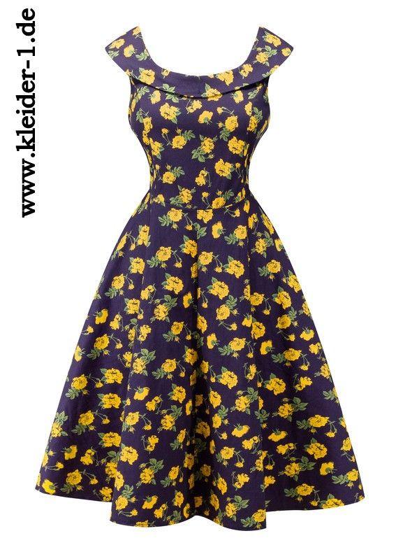 Midi Vintage Blumen Sommerkleid Knielang