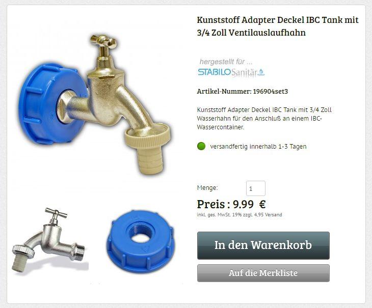 Kunststoff Adapter Deckel IBC Tank mit 3/4 Zoll Ventilauslaufhahn Wasserhahn Zubehör Wasserbehälter Wassertank