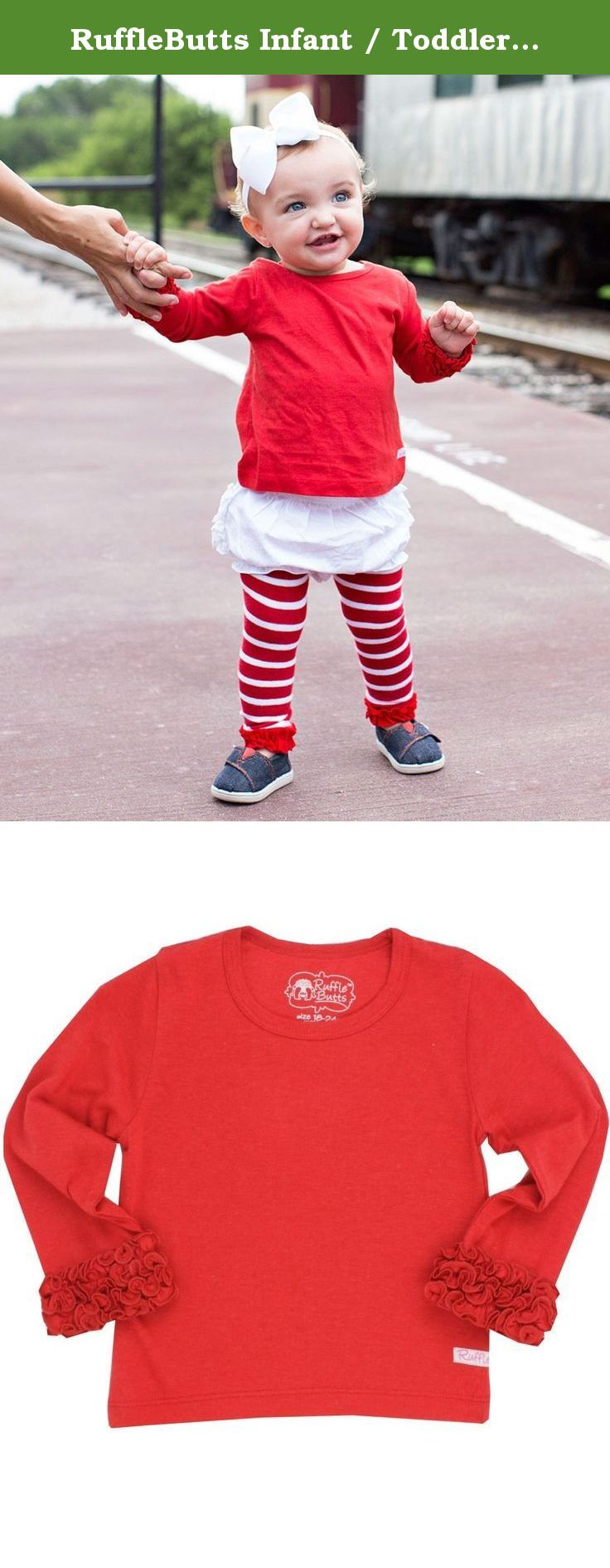 RuffleButts Infant / Toddler Girls Ruffled Long Sleeve Undershirt Tee - Red - 12-18m. Making our RuffleButts apparel even more convenient, this long sleeve Undershirt is the perfect addition to her winter wardrobe. Wear underneath her favorite Swing Top or Ruffle Dress for those cold winter days.