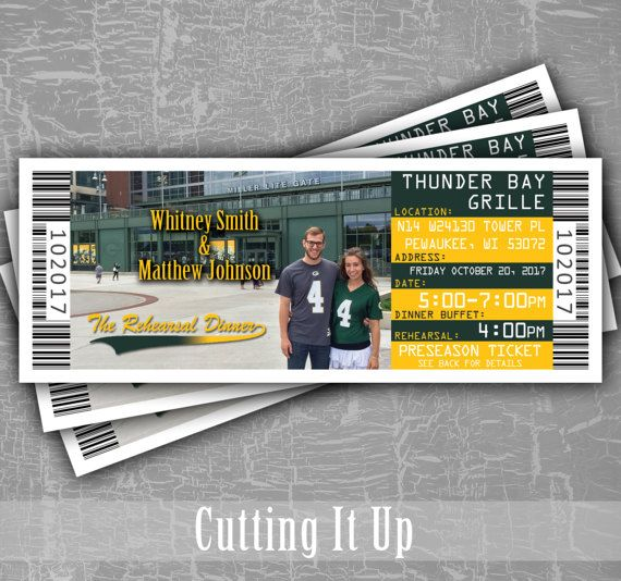 Football Rehearsal Dinner Invitation Ticket, Football Wedding Ticket, Tailgate, Green Bay Packers, Sports Themed, DIY, NFL, Party, Shower by CuttingItUp on Etsy