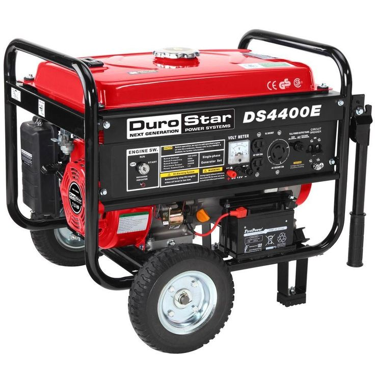 4,400-Watt Gasoline Powered Electric Start Portable Generator with Wheel Kit