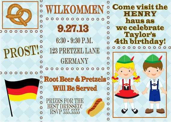 Best German Theme Party Images On Pinterest Oktoberfest - Birthday invitation in germany