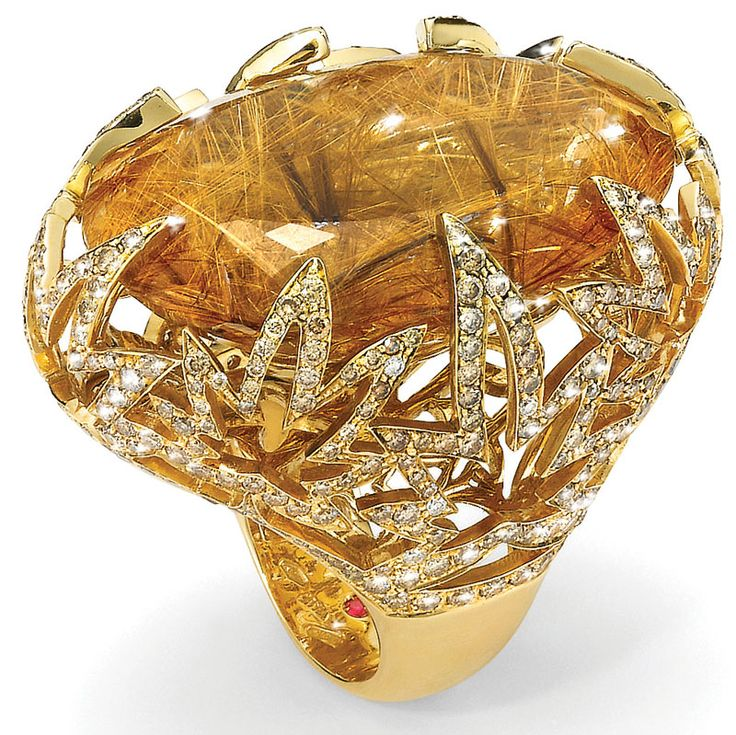 Roberto Coin's rutilated quartz and diamond ring