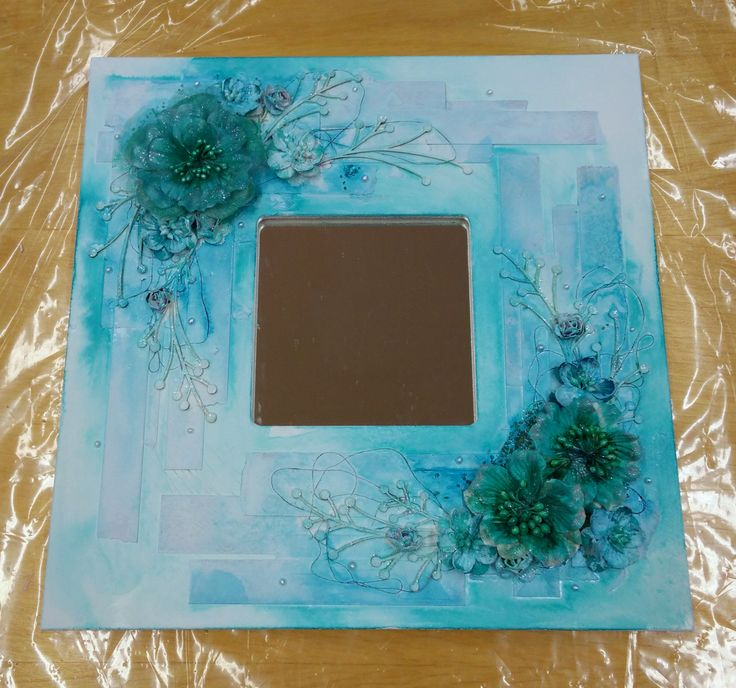 Turquoise Mixed Media Mirror with flowers made in Askartelupirtti