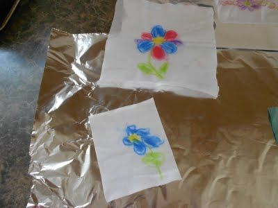 Drawing with chalk on starched fabric