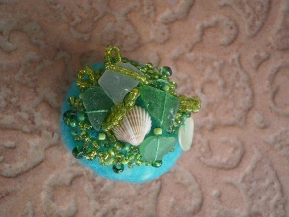 Sea glass beaded felted stone green felted stone by thalasseaglass, $10.00