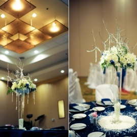 navy and green centerpiece ideas