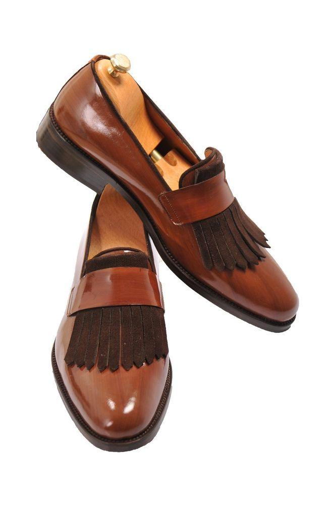 25008174143 Handmade men brown leather shoe