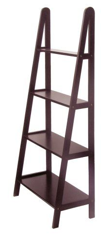 Display books, knickknacks, and framed photos on this four-tier A-frame shelf unit from Winsome Wood. Compact for small rooms, the shelf unit brings a stylish and unique touch against the wall of any office, living room, dormitory, or bedroom. The sturdy shelving unit is crafted out of solid/composite wood with a dark espresso brown finish. The 23-inch wide shelves gradually increase in depth from top to bottom. With its 6-inch depth, the top shelf makes a great display space for small…