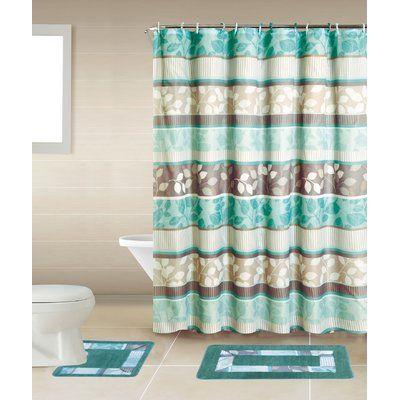 Winston Porter Shaelyn 15-Piece Shower Curtain Set