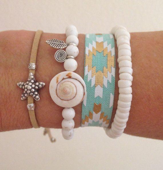 Bracciali di sirena, bohemien gioielli, accessori di beachcomber beach, spiaggia bracciali