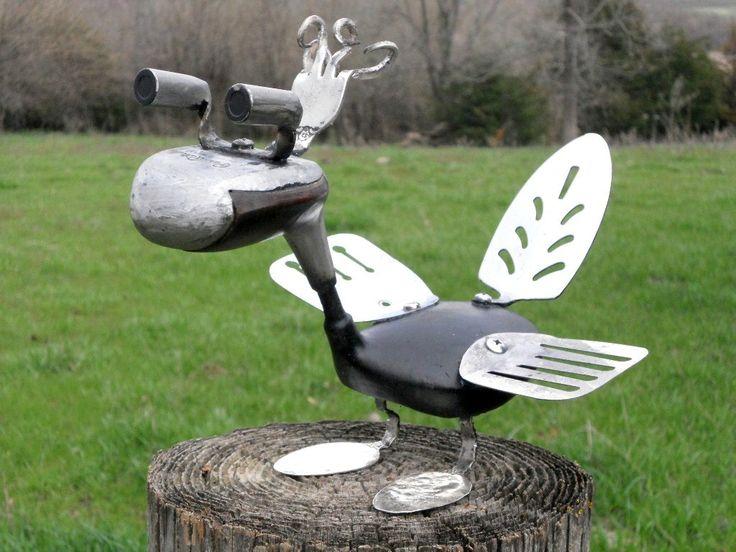 utensil garden art | Golf Club Bird Metal Sculpture Yard Art Garden Art Found Objects