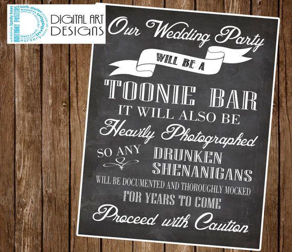 Bar Sign Wedding Toonie Cash