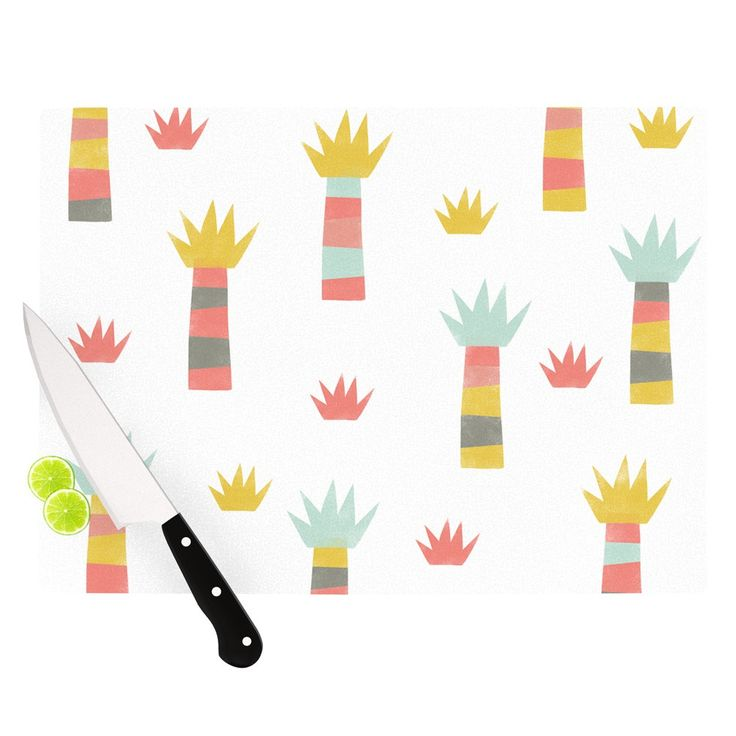 "Alik Arzoumanian ""Tropical"" White Pastel Cutting Board"