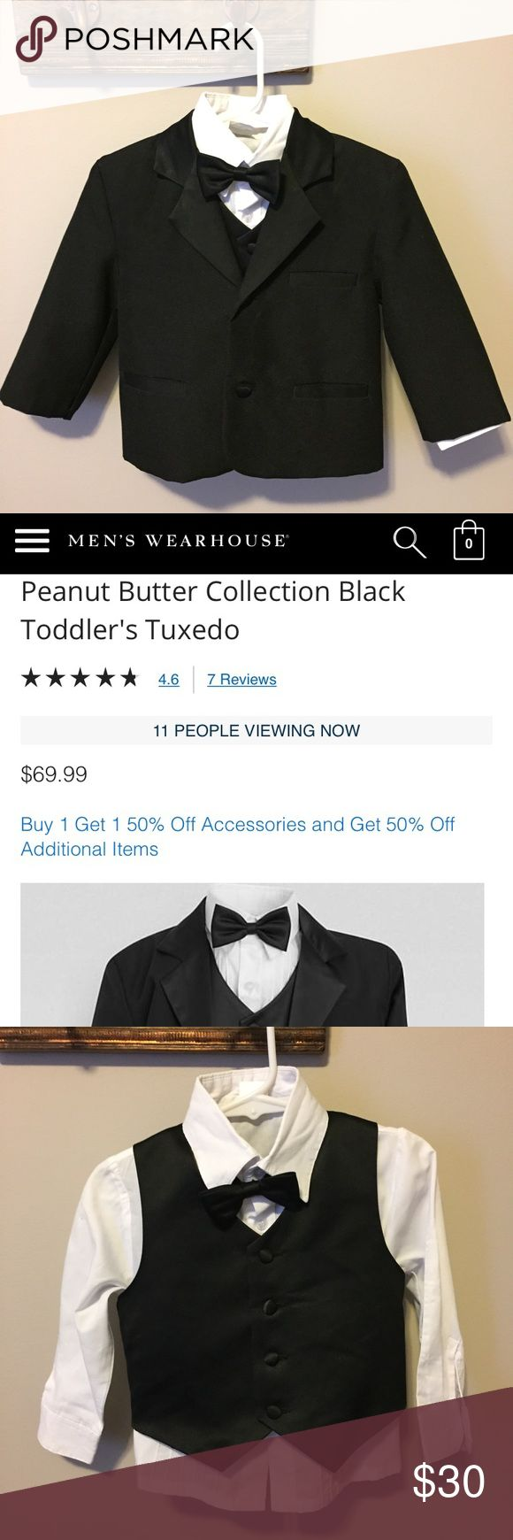 Toddler Tuxedo Men's Warehouse Worn Once Toddler Tuxedo Men's Warehouse Peanut Butter Collection - Worn Once! Includes: jacket, pants, shirt, vest and bow tie. Size 2 on tag Men's Warehouse Matching Sets