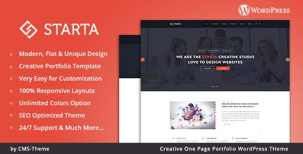 Starta - One Page Portfolio WordPress Theme Starta – One Page Portfolio WordPress Theme is a uniquely designed website template designed with a flat and modern look. This is a minimal, flat, clean & modern WordPress Theme for anyone who wants to build an amazing & modern portfolio website. It is suitable for any corporate, creative or business agency.