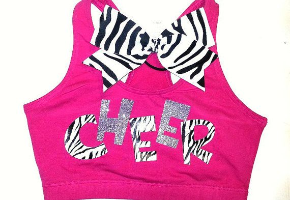 Zebra & Glitter Cheer Sports Bra With by ThingsToCheerAbout, $26.00
