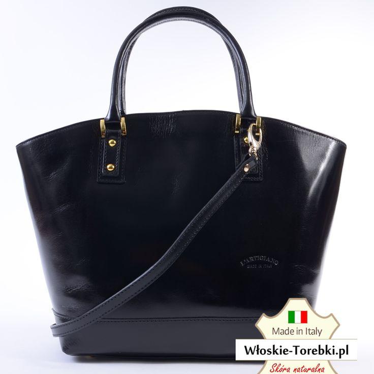 Model Letizia w kolorze czarnym. Torebka skórzana, elegancka i pojemna, klasyczny styl i ponadczasowy, uniwersalny charakter