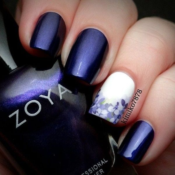Amazing looking dark blue nail art design with white nail polish. The sole white…