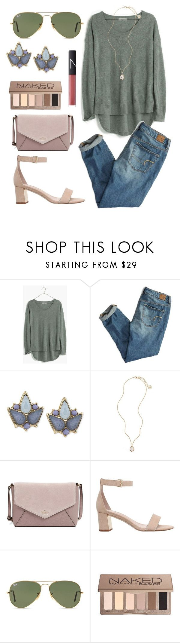 """""""Untitled #303"""" by juliacm-bush ❤ liked on Polyvore featuring Madewell, American Eagle Outfitters, Carolee, Kendra Scott, Kate Spade, Carvela, NARS Cosmetics, Ray-Ban and Urban Decay"""