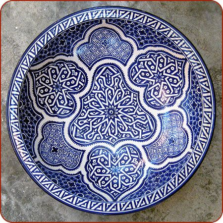 Moroccan Pottery / Ceramic - Trichrome Fez Platter