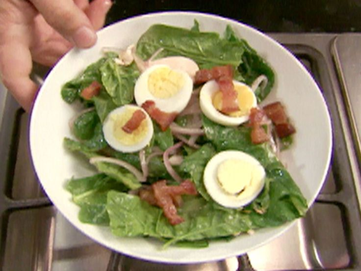 Spinach Salad with Warm Bacon Dressing recipe from Alton Brown via Food Network