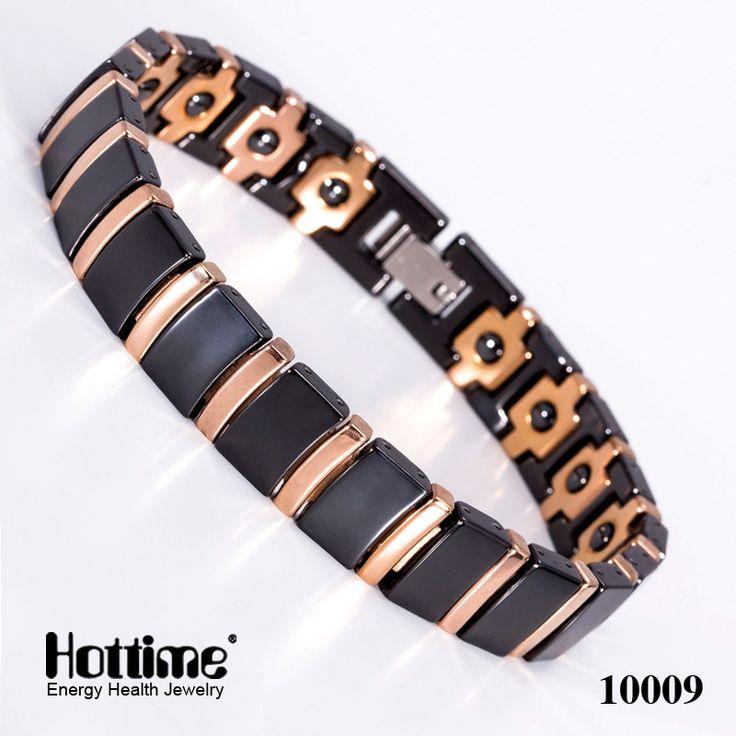 Bio Elements Energy Magnetic Health Germanium Bracelet Men Fashion Black Ceramic Bracelets Rose Gold & Black Fine Jewelry Bangle