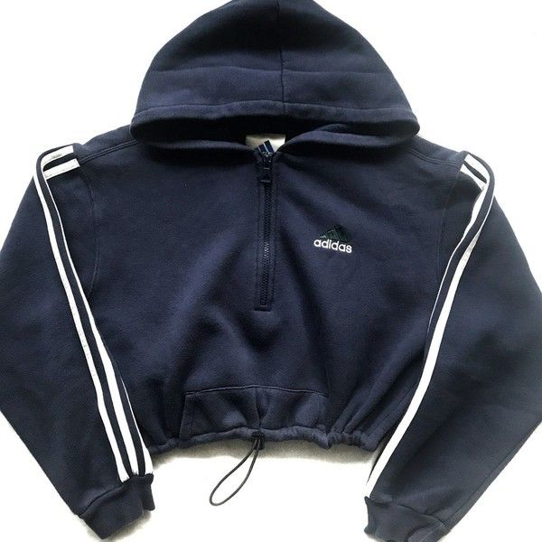 7c45fba5 Reworked Adidas Stripe Half Zip Crop ($48) ❤ liked on ...