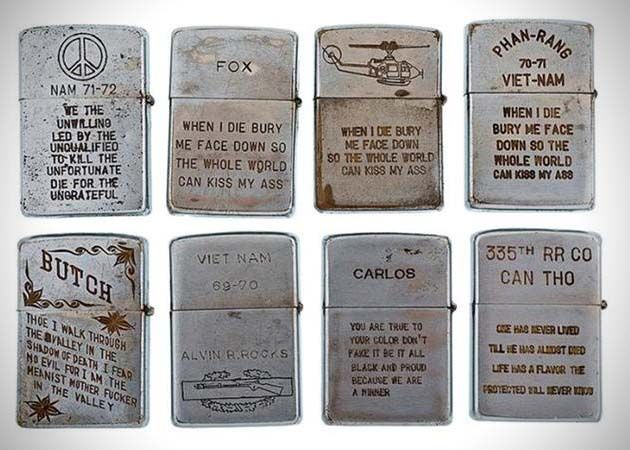 Vietnam War Era Engraved Zippo Lighters.   This whole series makes me sad and grateful at the same time.