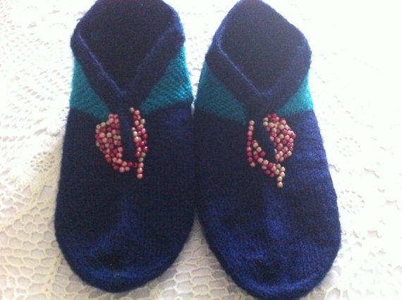 Dark blue and teal coloured Turkish Slippers by CouchCrochetCrumbs, $13.50