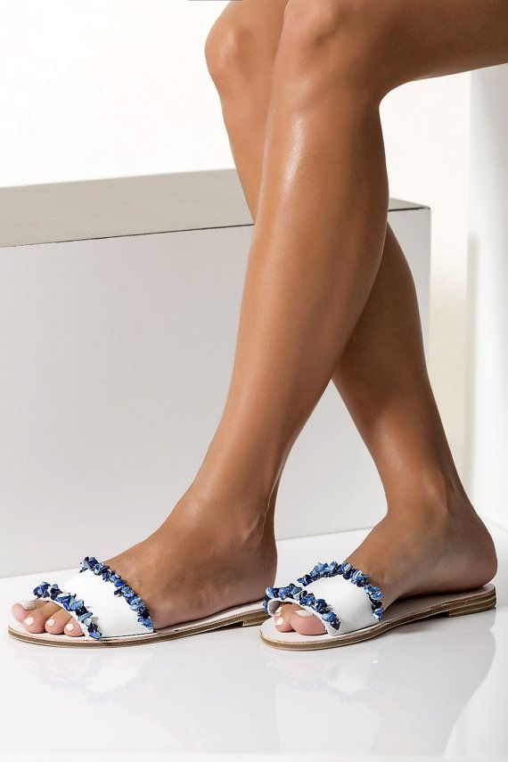 Leather slides embellished with blue mother of pearls Beaded