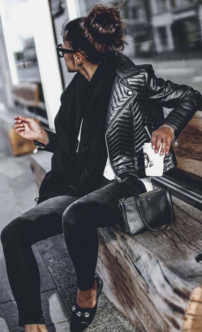 ootd | black sacrf   moto jacket   skinnies   top   loafers