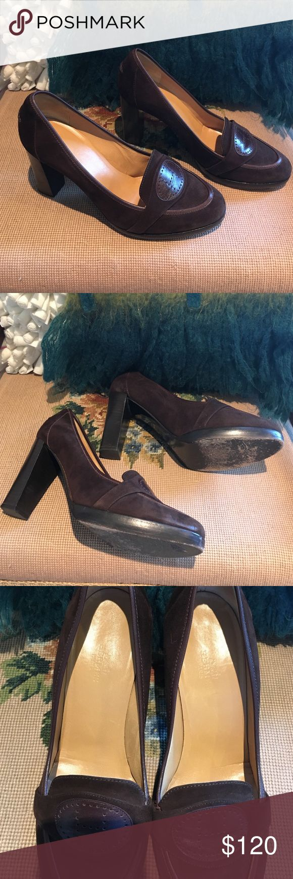 Hermes brown suede loafer pumps sz40/ 9 Hermes brown suede loafer pumps sz 40/ 9. Gently used no flaws besides scuffs on bottom sole. No box. Hermes Shoes Heels