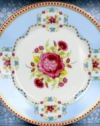 Antique Victorian Rose Blue Dessert Plate Set of 4-vintage, shabby,pink, blue,floral,birthday, wedding,gift,shower,pip,shower, tea, party