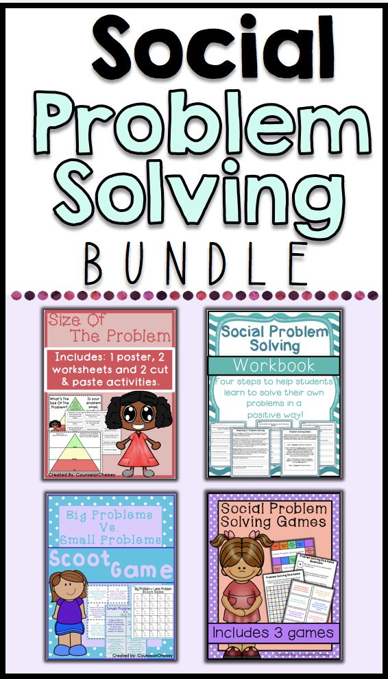 4 social problem solving resources. Includes social problem solving games, social problem solving workbook, size of the problem resources, and big problem v. small problem scoot game. A fantastic resource to help students learn to solve problems independently.