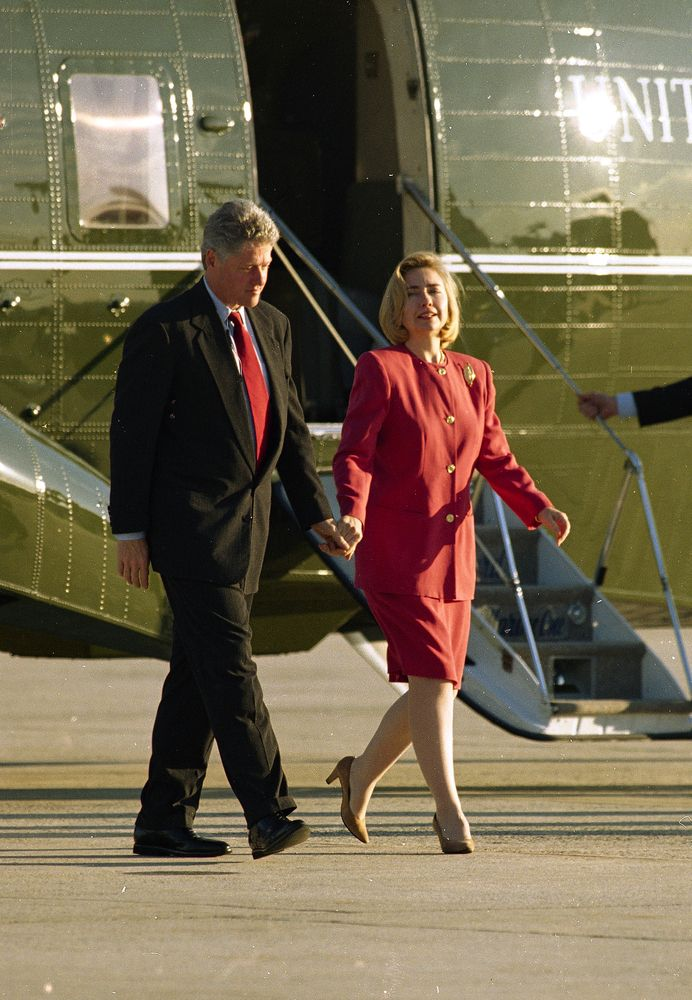 President Bill Clinton and first lady Hillary Rodham Clinton leave the Marine One helicopter for Air Force One at Andrews Air Force Base in Maryland, Oct. 25, 1994. The president left for the Middle East to celebrate peace in the shadow of violence and pledged to use his high profile mission to salute the new Israeli-Jordanian pact.