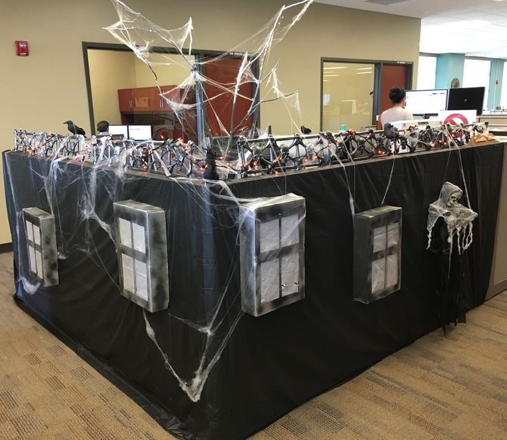 Transformed my cubicle into a Haunted Mansion!! #decoratedcubicle Cubicle decorations. Halloween.