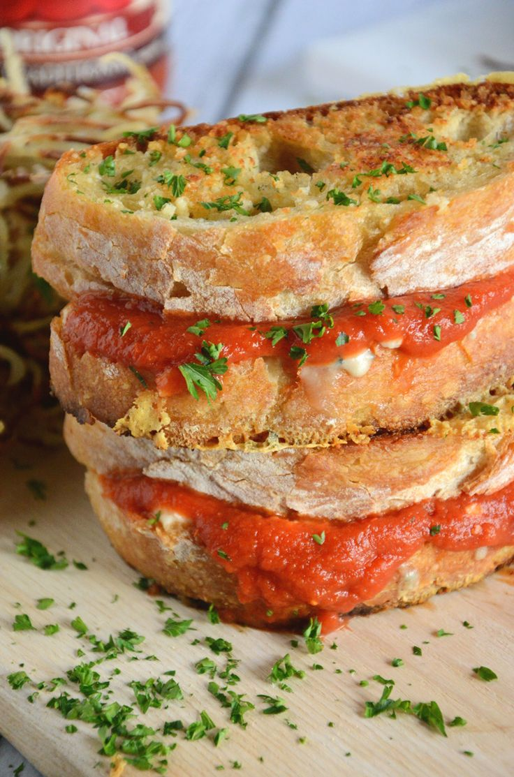 Parmesan Crusted Marinara Triple Grilled Cheese