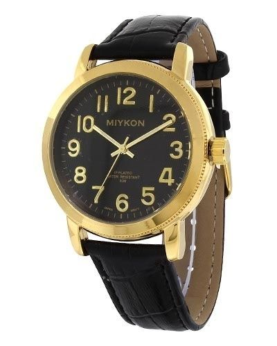 Miykon Dress Style Watch For Men Synthetic Leather Band Black And Gold Tone  #Dress