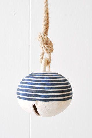 Ceramic Bell - Indigo Stripe by Koromiko