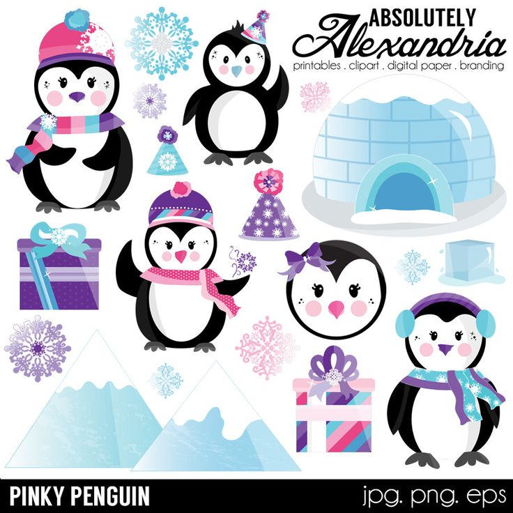Pinky Penguin Digital Clipart - Personal & Commercial Use - Winter Wonderland, Christmas Graphics, Snowflake Images by AbsolutelyAlexandria on Etsy https://www.etsy.com/listing/476248616/pinky-penguin-digital-clipart-personal