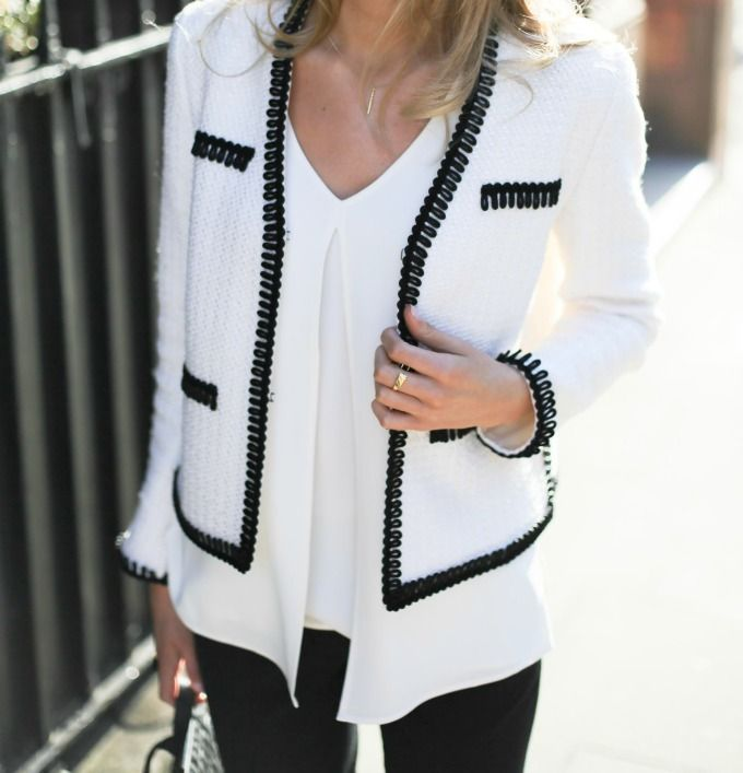 Classic Black and White Jacket from #StJohnKnits | sjk.com