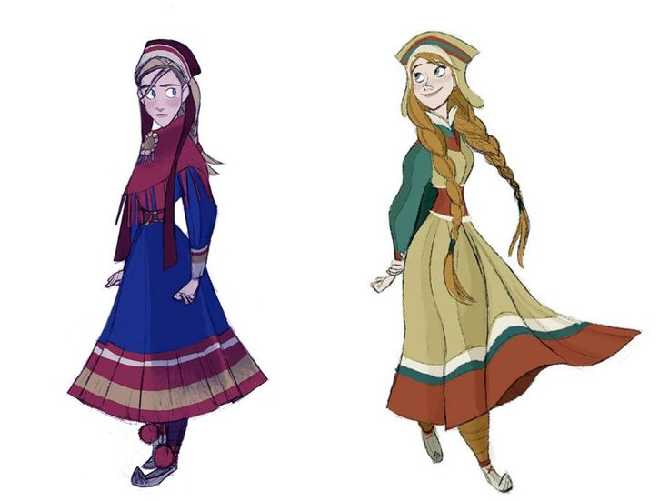 Costume Design in Animation, Anna, early concept art - Disney's Frozen - Tyranny of Style