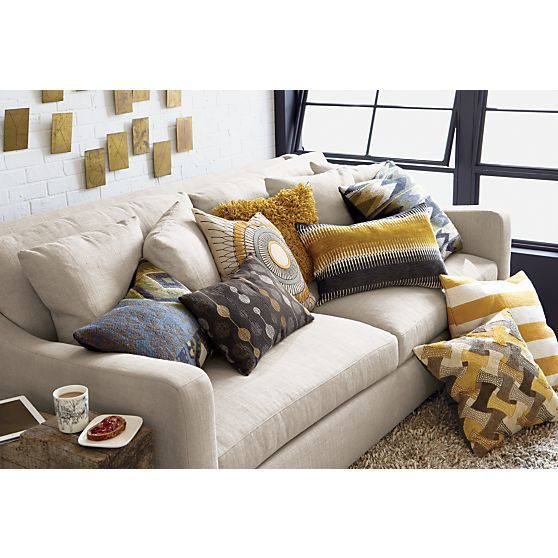 Verano Sofa Turquoise Black Pillows And Yellow