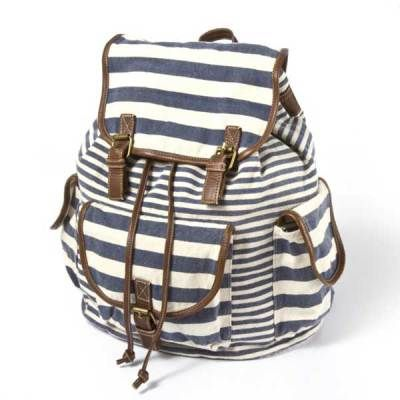 Cute Weekender Bags and Backpacks   Nothing says Nantucket getaway like a few nautical stripes.  Mixed Stripe and Canvas Backpack, $28, claires.com
