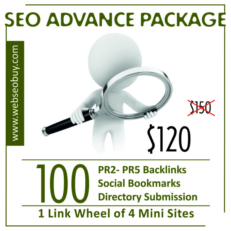 Package Includes - 100 PR2- PR5 Backlinks - 100 Social Bookmarks - 100 Directory Submission - 1 Link Wheel of 4 mini sites each For more information visit http://webseobuy.com/seo-advance-package
