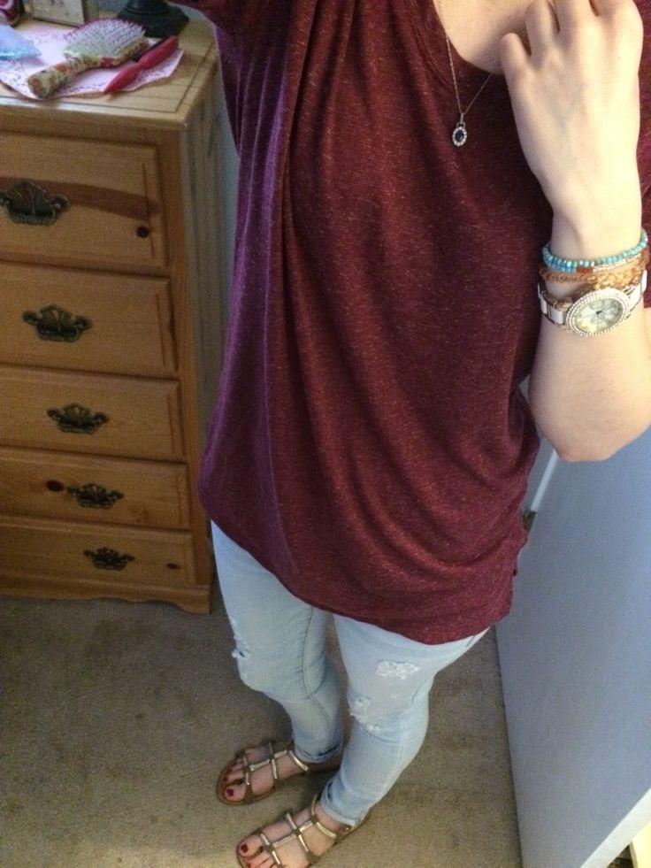 Bracelets: handmade Watch: JCPenney's Top: Kohl's juniors boyfriend tee Jeans: American Eagle Shoes: Payless Shoesource