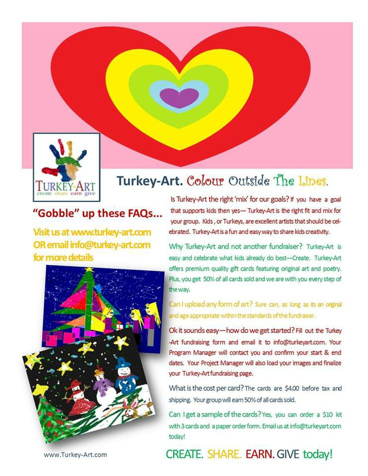 Got a project? Need to raise money for cause?  Let's Talk Turkey!  Earn 50% of all greeting card sales for your group's project or cause.  Visit Turkey-Art.com or email: info@turkeyart.com  http://www.turkey-art.com/fundraising.html