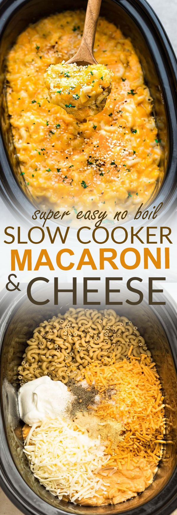This super creamy Slow Cooker Macaroni & Cheese is a super easy no boil dump and go recipe and is the perfect easy weeknight meal. Best of all, made entirely in the crock-pot with a mix of three popular cheeses: sharp cheddar, Mozzarella and Provolone and topped with a crispy Panko crumb topping. No oven or boiling on the stove required - super easy and perfect for potlucks, barbecues and camping. #slowcooker #macandcheese #onepot #comfortfood #cheese #pasta #skip #kraftdinner #bluebox